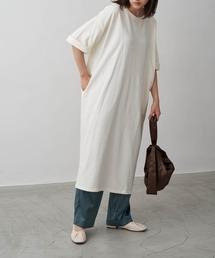 バルーンスリーブ7分袖ポケット付きミニ裏毛Aラインスウェットワンピースオフホワイト