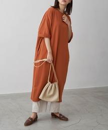 バルーンスリーブ7分袖ポケット付きミニ裏毛Aラインスウェットワンピースオレンジ