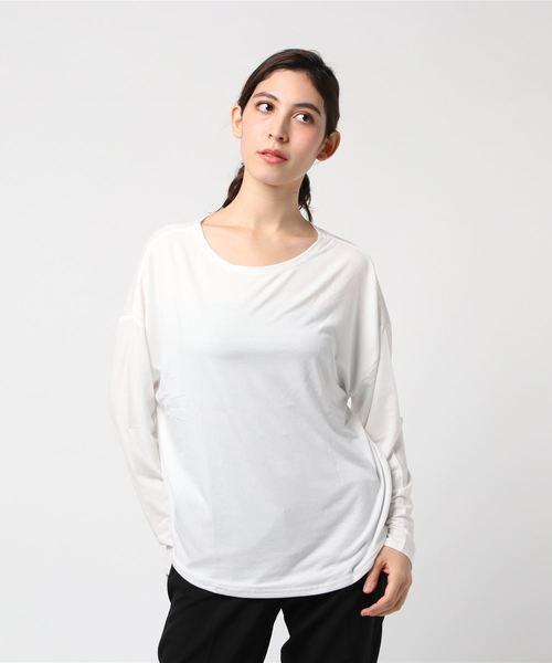 とろみ素材 ゆったりロングTシャツ