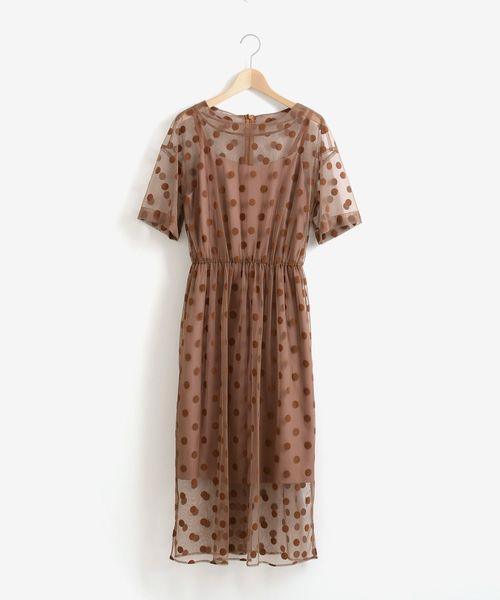 Perle Peche(ペルルペッシュ)の「kaeneドットチュールキャミドレス(ドレス)」|ピンク