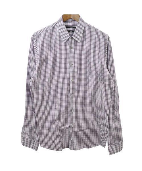 outlet store ca134 05eb8 チェック柄長袖シャツ パープル ドレスシャツ