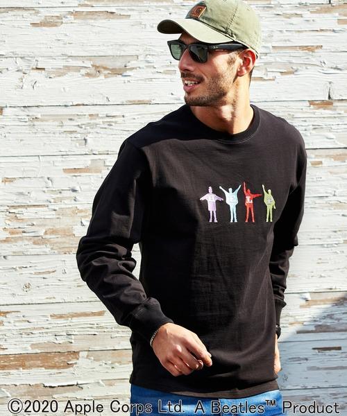 <別注>The BEATLES/ビートルズ HELPロゴ刺繍 オーバーサイズ クルーネック 長袖 Tシャツ