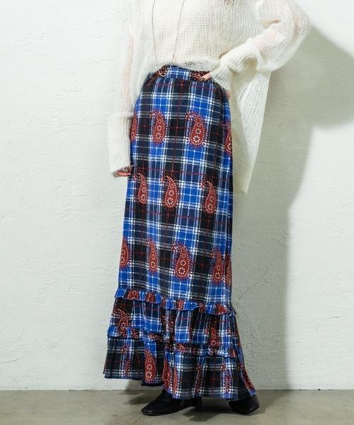 mystic(ミスティック)の「BINDU ロングスカート(スカート)」|ブルー