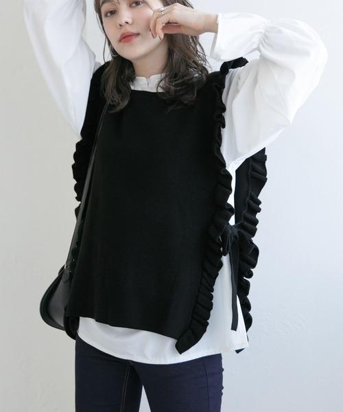 Heather(ヘザー)の「フリルニットベスト&ブラウスSET  929157(シャツ/ブラウス)」|ブラック系その他
