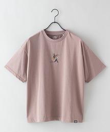 DRY(速乾機能)ビッグシルエット刺繍プリントTシャツベージュ