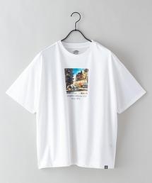 DRY(速乾機能)ビッグシルエット刺繍プリントTシャツホワイト系その他