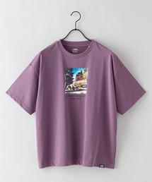 DRY(速乾機能)ビッグシルエット刺繍プリントTシャツパープル