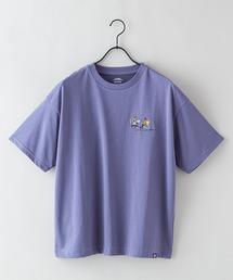 DRY(速乾機能)ビッグシルエット刺繍プリントTシャツブルー系その他