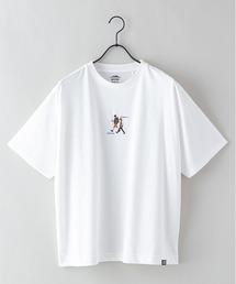 DRY(速乾機能)ビッグシルエット刺繍プリントTシャツホワイト