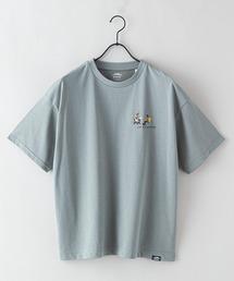 DRY(速乾機能)ビッグシルエット刺繍プリントTシャツカーキ