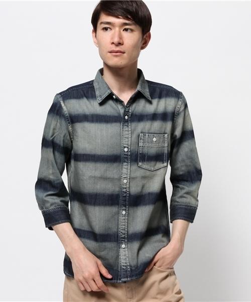 ボーダーワークシャツ
