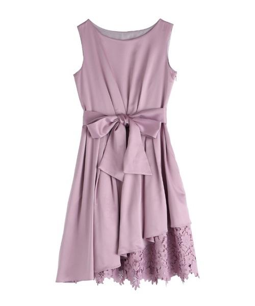 【結婚式・二次会におすすめ】アシメ裾レースドレス