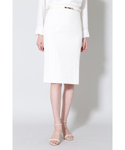 BOSCH(ボッシュ)の「《B ability》2WAYオックスセットアップスカート(スーツスカート)」|ホワイト
