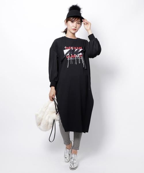Re.Verofonna(ヴェロフォンナ)の「ヴィンテージサテンスリーブロングロゴT(Tシャツ/カットソー)」|ブラック