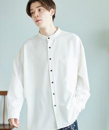 TRストレッチ スーパービッグシルエットバンドカラーシャツオフホワイト