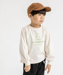 【coen キッズ】フォントプリントパフスリーブTシャツ