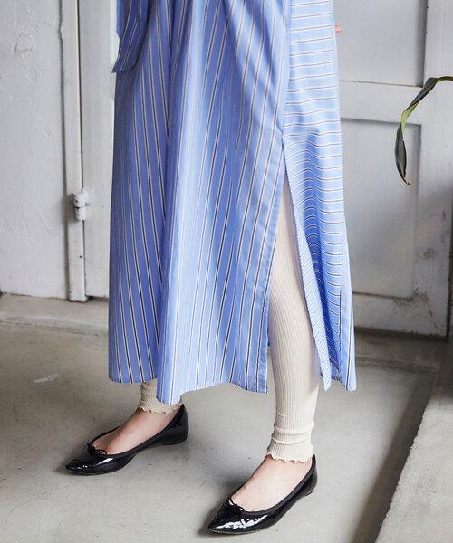 靴下屋(クツシタヤ)の「靴下屋/ 2×2リブ 裾メロウレギンス 12分丈(レギンス/スパッツ)」|オフホワイト