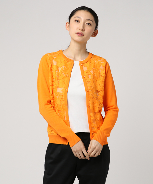 DOUBLE STANDARD CLOTHING(ダブルスタンダードクロージング)の「Sov. ダル糸レース刺繍ニットカーディガン(カーディガン)」|イエロー