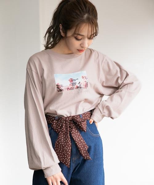 Heather(ヘザー)の「タックイリフォトT 852012(Tシャツ/カットソー)」|ピンク