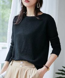 SAISON DE PAPILLON(セゾンドパピヨン)の袖くるりシンプルデザインウール混ニットトップス(ニット/セーター)