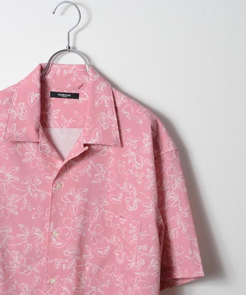 MORGAN HOMME(モルガンオム)の「オリジナルフラワートロオープンカラーシャツ(シャツ/ブラウス)」|ピンク