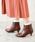 menue(メヌエ)の「選べる 内側ふかふかファータイプ ポインテッドトゥ 5cm ヒール ショートブーツ サイドジップブーツ 裏起毛ブーツ(ブーツ)」|ダークブラウン