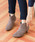 menue(メヌエ)の「選べる 内側ふかふかファータイプ ポインテッドトゥ 5cm ヒール ショートブーツ サイドジップブーツ 裏起毛ブーツ(ブーツ)」|グレー系その他