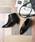 menue(メヌエ)の「選べる 内側ふかふかファータイプ ポインテッドトゥ 5cm ヒール ショートブーツ サイドジップブーツ 裏起毛ブーツ(ブーツ)」|ブラック系その他2
