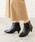 menue(メヌエ)の「選べる 内側ふかふかファータイプ ポインテッドトゥ 5cm ヒール ショートブーツ サイドジップブーツ 裏起毛ブーツ(ブーツ)」|ブラック
