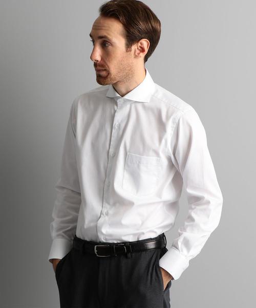 【WORK TRIP OUTFITS】 カッタウェイカラー ツイルソリッド シャツ <スリムフィット>