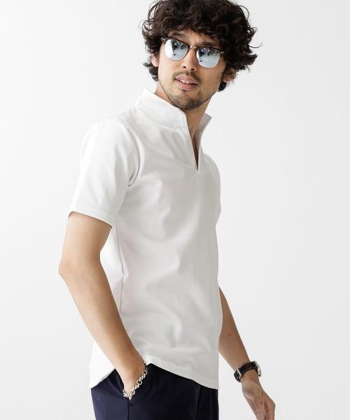 nano・universe(ナノユニバース)の「イタリアンカラースタイリッシュポロシャツ(ポロシャツ)」|ホワイト