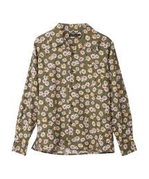 DAISY SKULL柄 オープンカラーシャツグリーン系カモフラージュ