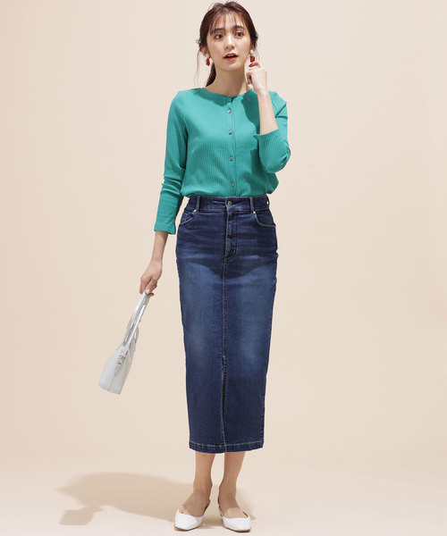 nano・universe(ナノユニバース)の「I-line slim fit denim skirt(デニムスカート)」|インディゴブルー