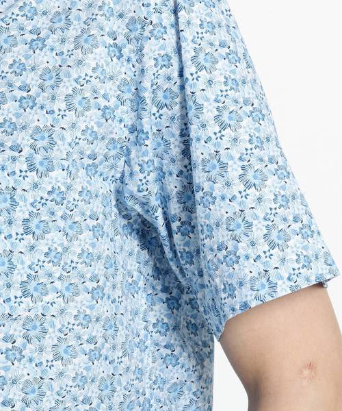 【洗える】小花ハワイアンプリントシャツ