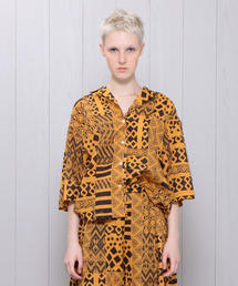 <H>AFRICAN PRINT OPEN COLLAR SHIRT/シャツ