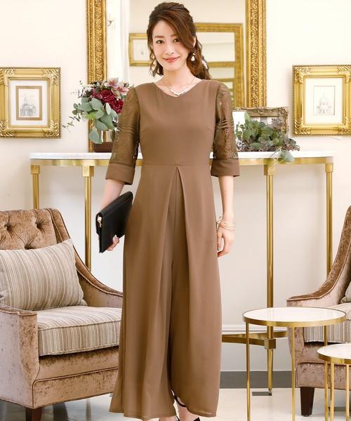 ハイウエストレースパンツドレス 同窓会·成人式·セレモニー大きいサイズ対応フォーマルパーティードレス