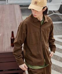 【セットアップ】USAコットン CPO オーバーサイズ レギュラーカラー/スキッパーバンドカラーシャツ&シェフパンツダークブラウン