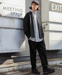 【セットアップ】USAコットン CPO オーバーサイズ レギュラーカラー/スキッパーバンドカラーシャツ&シェフパンツブラック系その他