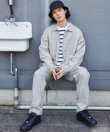 【セットアップ】USAコットン CPO オーバーサイズ レギュラーカラー/スキッパーバンドカラーシャツ&シェフパンツグレー