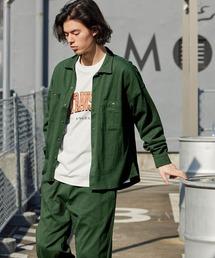 【セットアップ】USAコットン CPO オーバーサイズ レギュラーカラー/スキッパーバンドカラーシャツ&シェフパンツグリーン