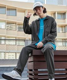 【セットアップ】USAコットン CPO オーバーサイズ レギュラーカラー/スキッパーバンドカラーシャツ&シェフパンツチャコール
