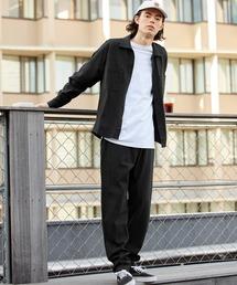 【セットアップ】USAコットン CPO オーバーサイズ レギュラーカラー/スキッパーバンドカラーシャツ&シェフパンツブラック