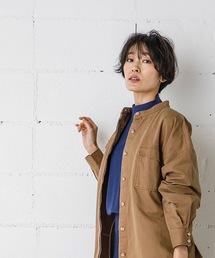 CPOシャツジャケット(オーバーサイズシャツ)キャメル