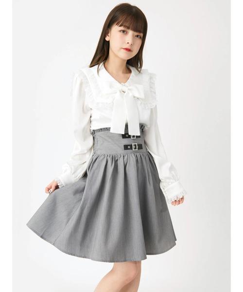 Ank Rouge(アンクルージュ)の「ベルトギャザースカート(スカート)」 グレー