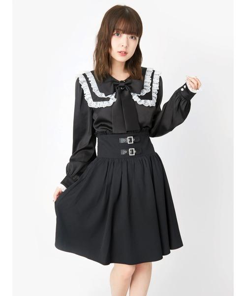 Ank Rouge(アンクルージュ)の「ベルトギャザースカート(スカート)」 ブラック