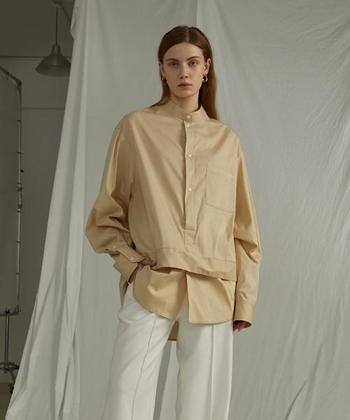 【UNSPOKEN】Layered stand-up collar shirt UQ20S009