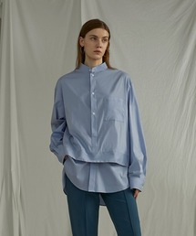 【UNSPOKEN】Layered stand-up collar shirt UQ20S009ライトブルー