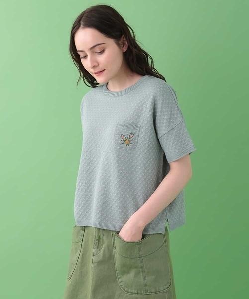 Estrellato ラメ糸混半袖ニットプルオーバー