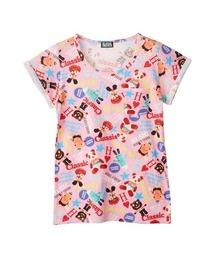 YOKO DOLL MIX柄 ポケット付きTシャツピンク