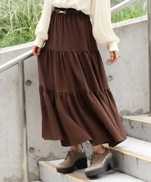 Heather(ヘザー)のムジガラティアードロングスカート 854205(スカート)